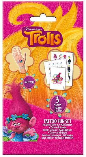 Trolls Tattoo Fun Set mit Glitzer. In dem Set befinden sich Nagel Tattoos, Tattoo Armbänder und Tatt