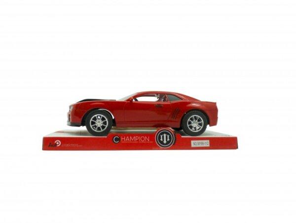 rot/oranger Sportwagen mit schwarzen Streifen, 26 cm bzw. 1:16, in Sichtbox, ab 3 Jahre, 30x14x11 cm