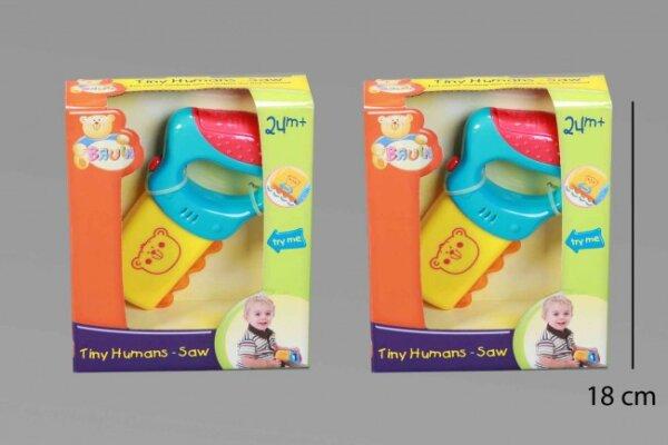 Babyspielzeug,Säge im Sichtkarton, 15x18x5 cm, mit Sägegeräusch, mit Batterien
