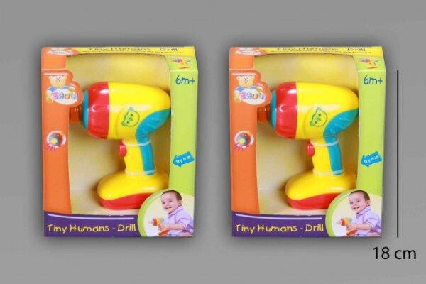 Babyspielzeug,Bohrmaschine im  Sichtkarton, 15x18x5 cm, mit Licht und Bohrgeräuschen