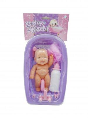 Babypuppe in der Badewanne, mit Wasserhahn, Dusche und...