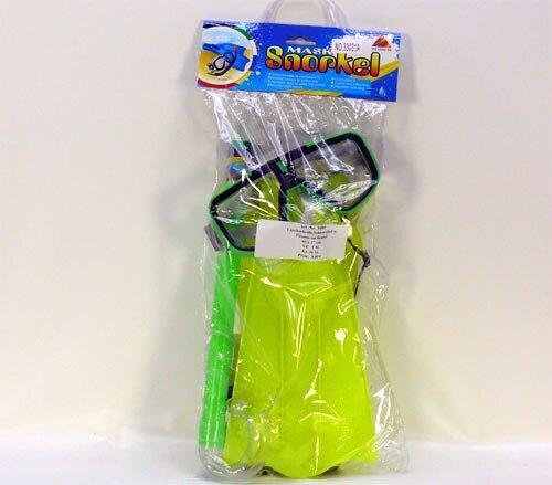 Tauchset mit Taucherbrille, Schnorchel und Flossen, grün, ab 3 Jahre, 40 x 17 cm