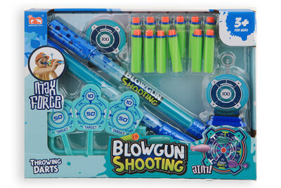 Blaspistole mit Schaumstoffpfeilen und Zielscheiben,...