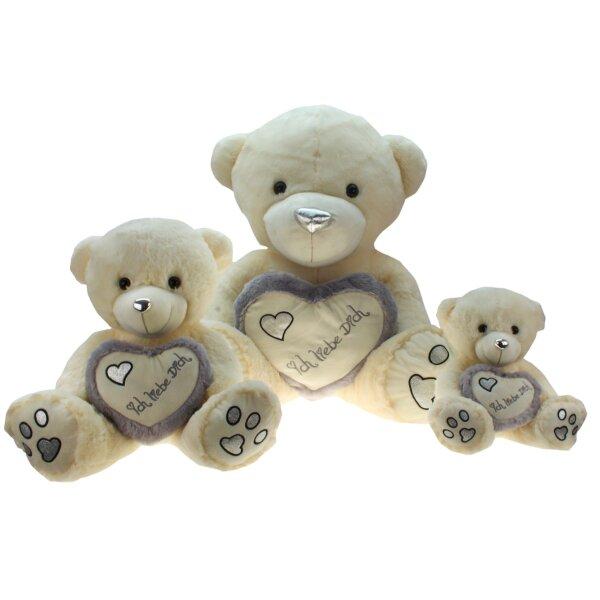 Bär mit Herz, silber, ca. 45 cm