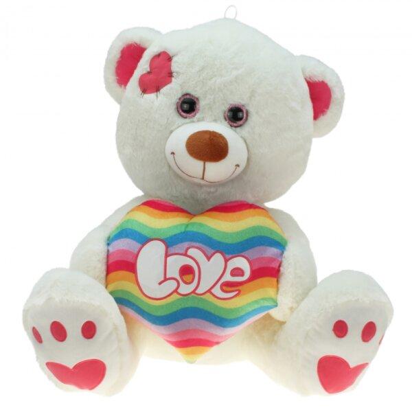 Kuschelbär mit Herz Rainbow, ca. 30 cm