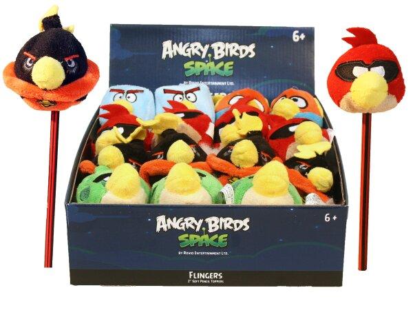 Plüsch Angry Birds Bleistiftaufsatz im Display 24 Stück, 5fach sortiert, ca. 6,5 cm groß, Preis bezi