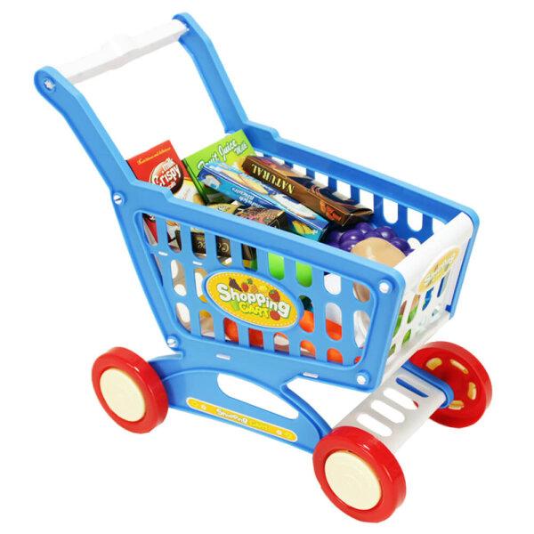 Einkaufswagen für Kinder inkl. Spielzeug-Lebensmittel, 38-teilig