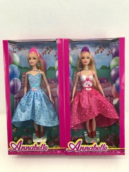 Puppe Annabelle in rosa oder blau mit Diadem, Verpackungsgröße ca. 32 cm x 16 cm x 6 cm