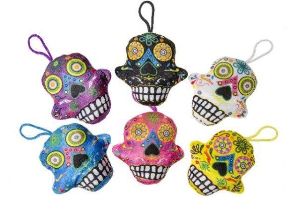 """Plüsch mexikanischer Totenkopf """"Tag des Todes"""" mit Schlaufe zum Aufhängen in 6 verschiedenen Farben"""