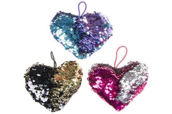 Pailletten Kissen Herz mit Schlaufe zum Aufhängen