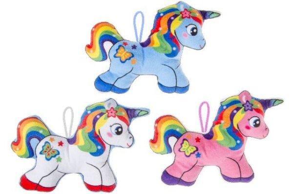 Plüsch Einhorn mit Regenbogenmähne und -schweif mit Schlaufe zum Aufhängen in 3 verschiedenen Farben