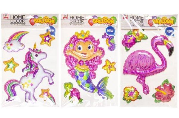 Ballon- oder auch 3D Sticker mit Einhorn, Meerjungfrau oder Flamingo Motiven