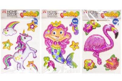 Ballon- oder auch 3D Sticker mit Einhorn, Meerjungfrau...