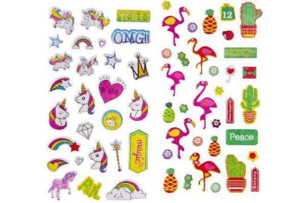 Sticker im Flamingo- und Einhorndesign teilweise mit Glitzer. Der Stickerbogen ist ca. 21 x 10 cm gr
