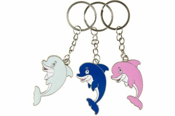 Metall Delfin in 3 verschiedenen Farben hellblau, blau und rosa an Schlüsselkette, Preis gilt pro St