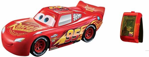 Mattel Disney Cars Rennfahrer Lenkspaß Lightning McQueen, das Auto wird durch Lenkbewegungen der Hän