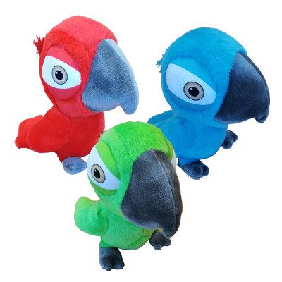 Papagei aus Plüsch 3fach sortiert