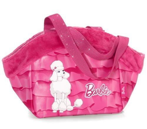 """Tragetasche """"Barbie Pudel Sequin"""", pink mit weißem Pudelbild, Kunstleder mit Plüschrand, 32 x 19 x 1"""