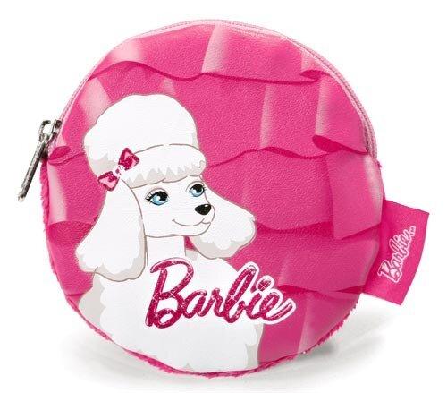 Barbie Pudel Sequin Münztäschchen, pink, schöner weißer Pudelaufdruck, Plüsch/Lederimitat, 11 cm