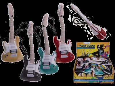 Plüsch Schlüsselanhänger Gitarre mit Sound