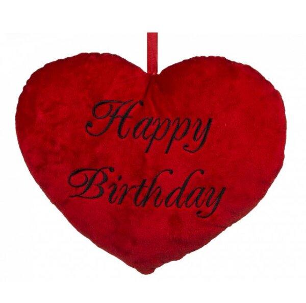Herz aus Plüsch mit Happy Birthday Schriftzug