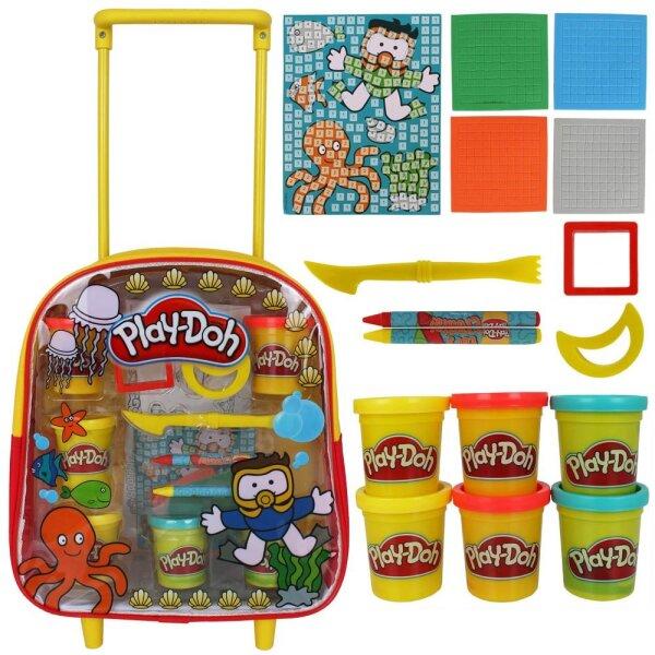 Play-Doh Trolley- Rucksack mit Knete, Stiften und viel Zubehör, Maße Trolley B/T/H: ca. 26x12x32 cm