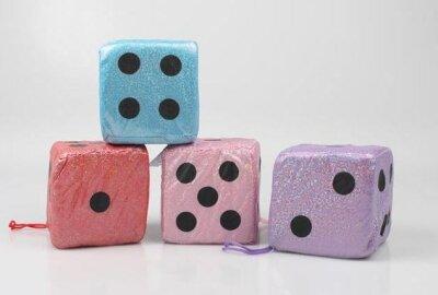 Glitzerwürfel aus Stoff in 4 verschiedenen Farben....