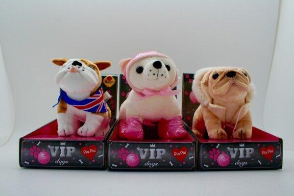 Funky VIP Dogs, 20 cm, 3 verschiedene Hunde; Bulldogge, Mops, Chihuahua, im Karton