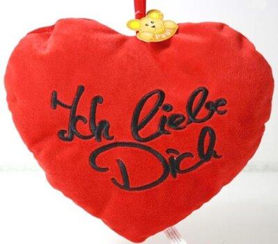 """Herz, 10cm, rot, mit Öse, bestickt mit """"Ich..."""
