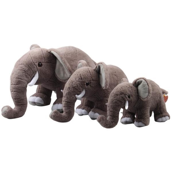 Plüsch-Elefant stehend, ca. 36 cm, grau weiß, inklusive Stoßzähne, Softplüsch