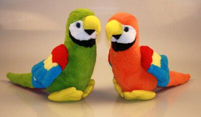 Plüsch Papagei stehend, ca. 32 cm, 2fach sortiert