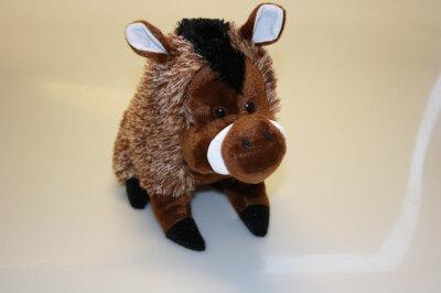Plüsch Wildschwein stehend, ca. 20 cm, braun, Kunststoffaugen