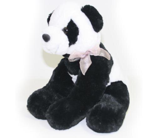 Pandabär mit rosa Schleife, Supersoft-Plüsch, schwarz/weiß, sitzend 37 cm