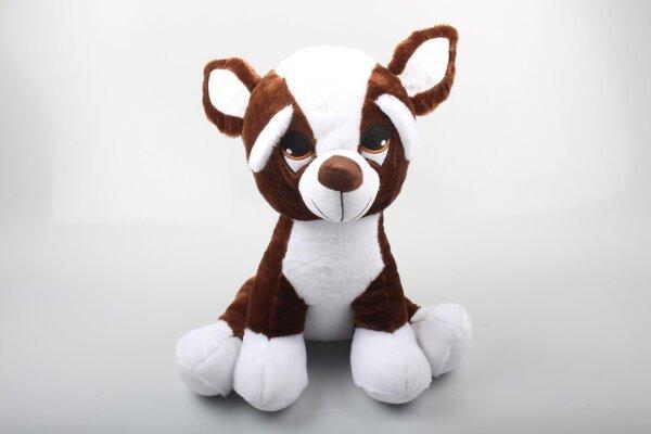 Süßer Hund in braun/weiß aus Plüsch mit Schlappohren, gesticktem Gesicht und Stoffnase.