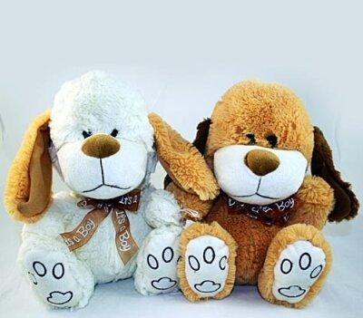 Softhund mit brauner Schleife, sitzend 26 cm