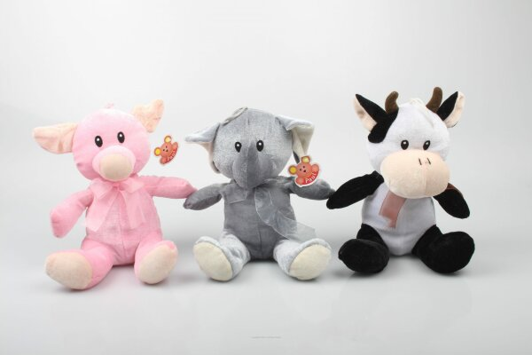 Tiersortiment Schwein, Kuh und Elefant aus Plüsch ca. 22 cm