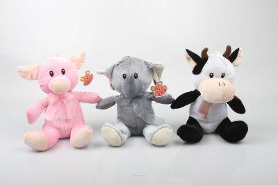 Tiersortiment Schwein, Kuh und Elefant aus Plüsch...