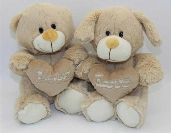 Bär und Hund, 23cm, sitzend, Stoffnase, gesticktes Herz, Frotteeplüsch, Kunststoffaugen