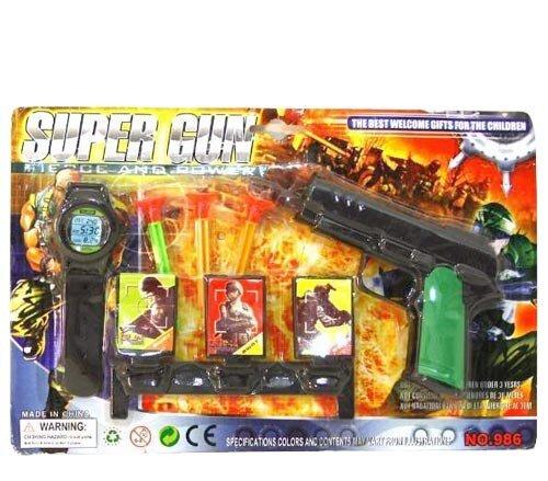 Pistole, mit 3 Saugnapfpfeilen, Kompass, Zubehör, auf Karte, 28, 5x18, 5cm,