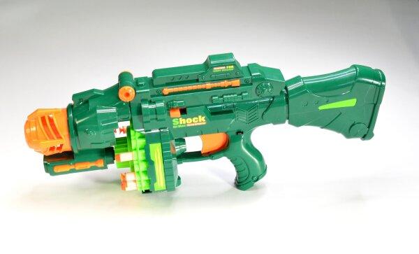 Softair Shooter Gewehr mit großen Rundmagazin und Softpfeilen, batteriebetrieben, 3 Farben sortiert