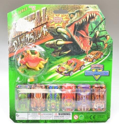 6 Metallfahrzeuge im Dinosaurierstyle und 4 Dinos aus Kunststoff auf Karte. Der Preis bezieht sich a