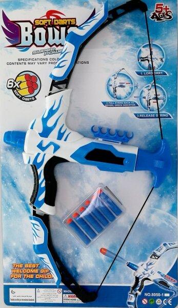 Softair Shooter Bogen mit 6 Softair Pfeilen, 2 verschiedene Farben; blau und rosa, 62x36 cm