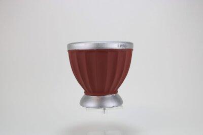 dicke Vase in rostrot, 17,5x17,5 cm