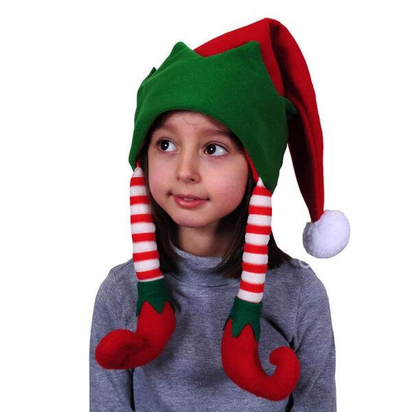 Weihnachtsmütze für Kinder mit gestreiften Wichtelbeinen