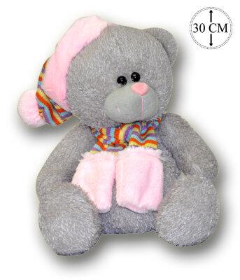 grauer Teddy mit Schlafmütze & Schal - ca. 30 cm