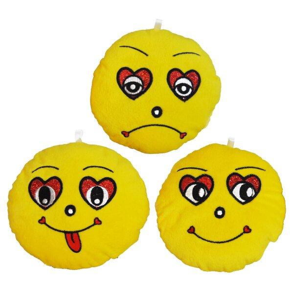 Runde Smiley-Kissen aus Plüsch Durchmesser ca. 15 cm