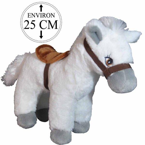 Weißes Pferd aus Plüsch mit Sattel ca. 25 cm