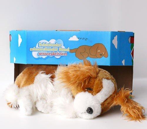 bellender Hund mit Funktion, o. Batt., braun/weiß, schwarze Nase, Knopfaugen, 32x17 cm