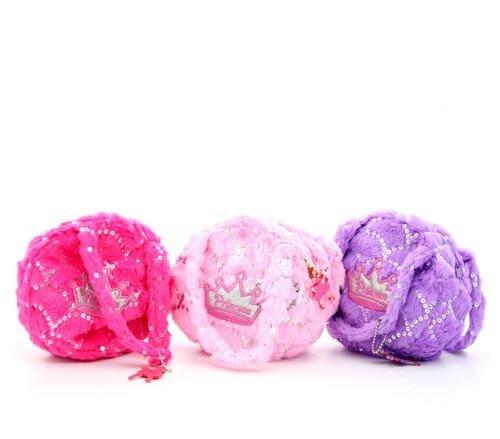 Prinzessinnen Schultertasche, rund, erhältlich in pink, lila oder rot, Plüsch, 17 x 17 x 5 cm
