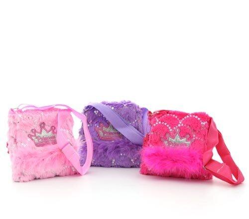 Prinzessinnen Schultertasche, erhältlich in pink, lila oder rot, Plüsch, 16 x 16 x 5 cm